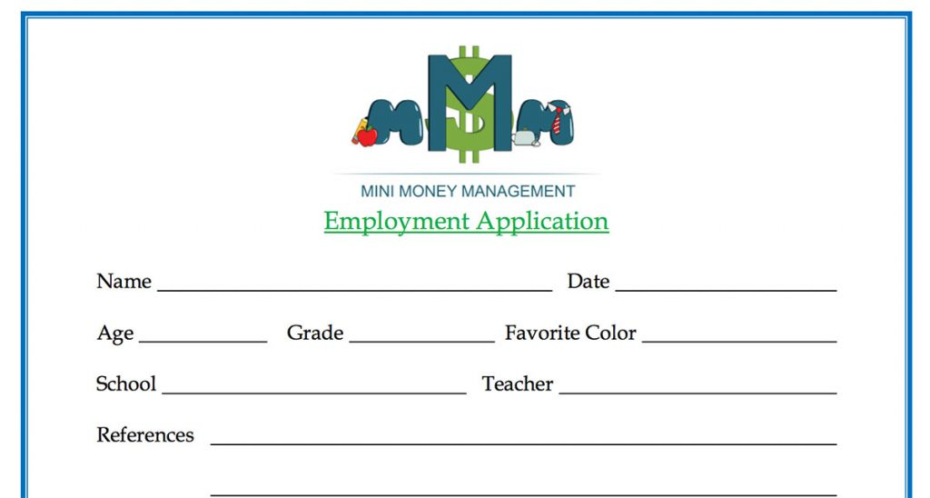 Kid employment application