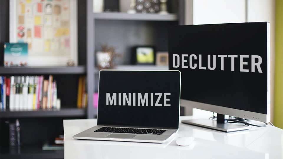 declutter minimize home office desk